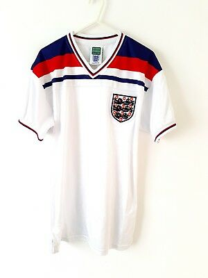 England Retro Home Shirt 1982. Small Adults. Score Draw. White Football Top Only
