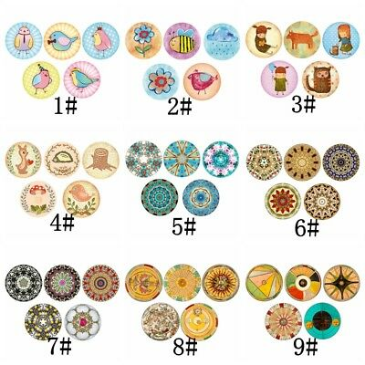 5 pcs/Set 12mm/16mm/20mm Animals Space Glass Patch Cover Cabochons Cameo Jewelry