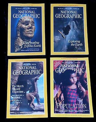 4 x National Geographic Magazines  1988/89  & 1998