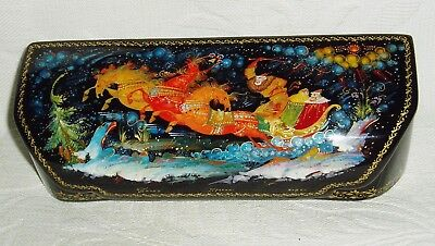 """Russian Lacquer box casket Palekh Winter Troika. Three horses """" Hand Painted"""