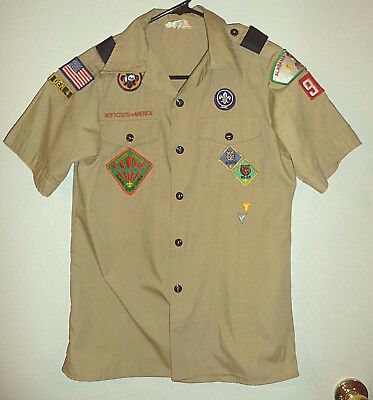 Vintage Boy Scouts of America shirt with Patches Size Youth LG Made In USA 1990s