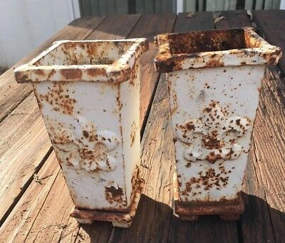 Vintage French cast iron planter vase set  FLEUR  pattern 8 x 4 x 4""