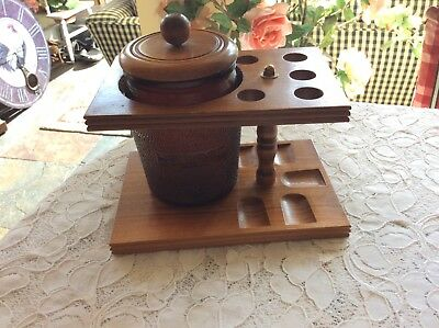 Vintage Humidor 5 Pipe Stand DuraGlas Dun-Rite Wooden Holder!