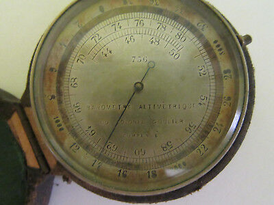 RARE! Antique Baromètre altimétrique du colonel Goulier barometer W leather case