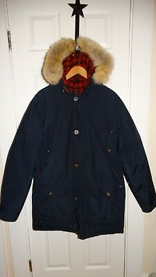 EUC Mens Woolrich Arctic Down Navy Natural Coyote Fur Lined Parka Size Large