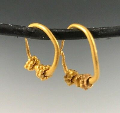 Ancient Byzantine Gold Decorated Hoop Earrings; Charming!