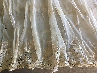 Antique pr Edwardian French tambour needle lace curtain/drape panels early 1900s