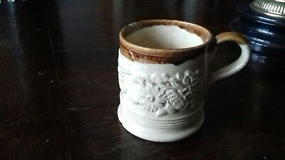 Antique Salt Glaze Sprigged Stoneware Mug c1850 - 1880. 9cm H.