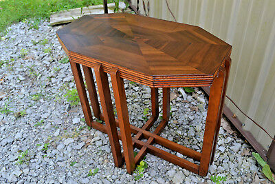 Antique Art Deco Wood End Table Nightstand Vtg