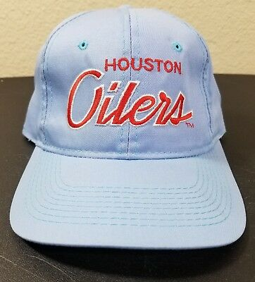 932037f0f Vintage Houston Oilers Baby Blue Script Sports Specialties Snapback Hat 90s