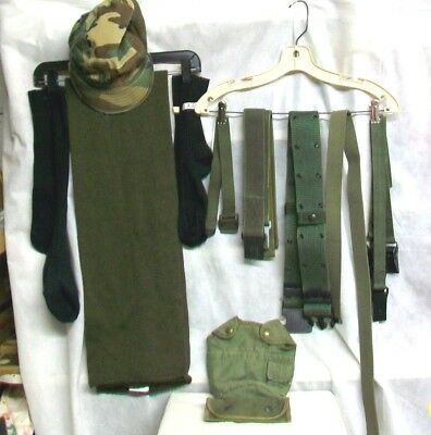 MILITARY LOT - BELTS, POUCH, SCARF, CANTEEN COVER with CLIPS, STRAPS, CAMO CAP..