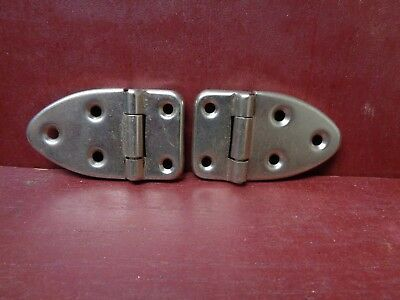 2 Vintage Nos More Avail Cabinet Door Chrome Or Nickel Plated Hinges #6