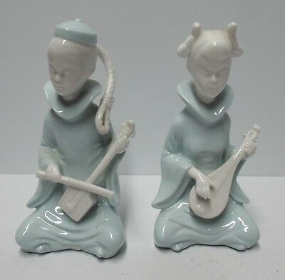 2 Vintage Lenwile Ardalt China Asian Figurines w/ Musical Instruments - NICE