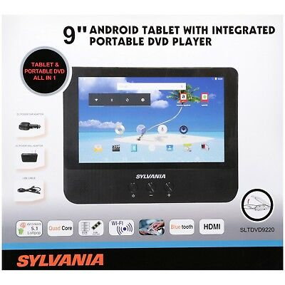 "SEALED  Sylvania 9"" Android Tablet with Portable DVD Player Touchscreen 3 in 1"