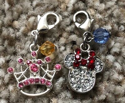 2 Disney Parks Charmed In The Park Minnie Mouse Jewels Icon Princess Crown Charm