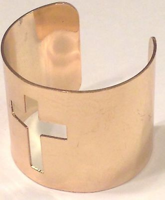 "Cut-Out CROSS Cuff Bangle Bracelet Gold Tone 2"" Wide CHUNKY BOLD FUN&FAB GUC"