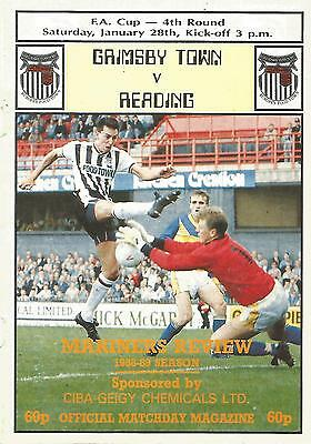 Grimsby Town v Reading - FA Cup - 28/1/1989 - Football Programme