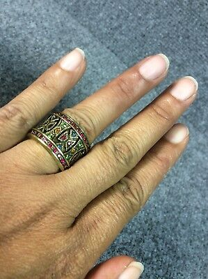 Statement Heidi Daus Multi Colors Crystal Wide Band ring size 6.5