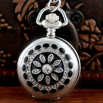 Full Hunter Antique Pocket Watch Chain Floral Figure Vintage Necklace Retro Gift