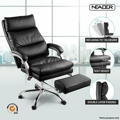 fNEW Ergonomic Executive PU Leather Computer Reclining Office Chair w/ Footrest