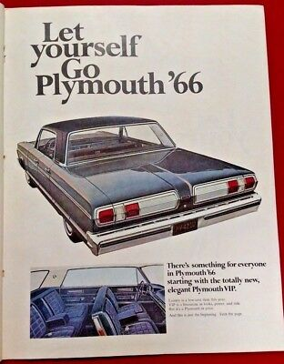 3-page print ad featuring 1966 Plymouth Barracuda, Fury, Valiant, Satellite