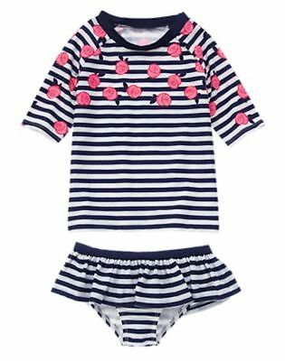 NWT Gymboree Girl Rose Stripe Rash Guard SET 8 10 12 Swimsuit Swim shop