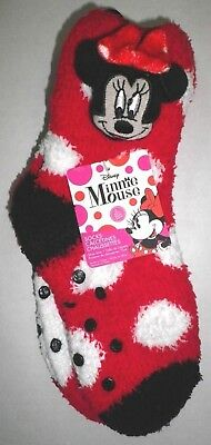 Disney MINNIE MOUSE 2 Pair Polka Dot Gripper Slipper Socks Girls Shoe 10-4 Youth