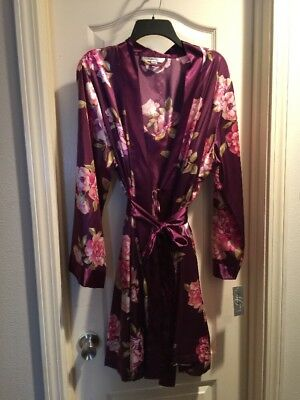❤️MORGAN TAYLOR Burgundy Pink Roses 2 Piece Set Negligee Nightgown & Robe NWT