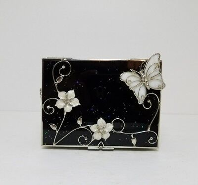 Vintage Black Glass Silver Butterfly Flip Top Jewelry Trinket Box