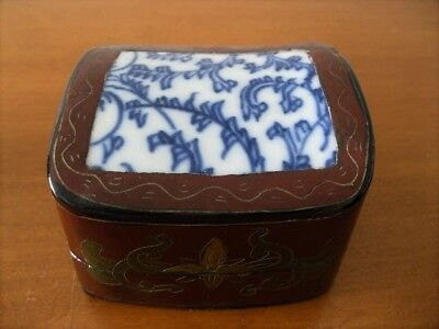 Chinese Box w/Antique Blue & White Shard in Concave Cover