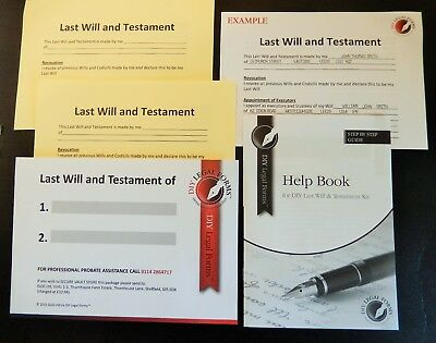LAST WILL AND TESTAMENT KIT,  NEW 2020-21 Edition, SUITABLE for 1 or 2 PERSONS.