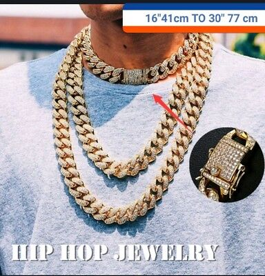 Men's18K Gold Chain Iced Out Diamond Thick Miami Cuban Link Chain Neclace