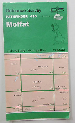 1988 old OS Ordnance Survey 1:25000 Pathfinder map 495 Moffat NT 00/10