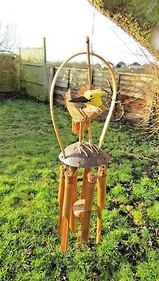 Fair Trade Hand Carved Made Wooden Bamboo Coconut Bird Wind Chime Windchime