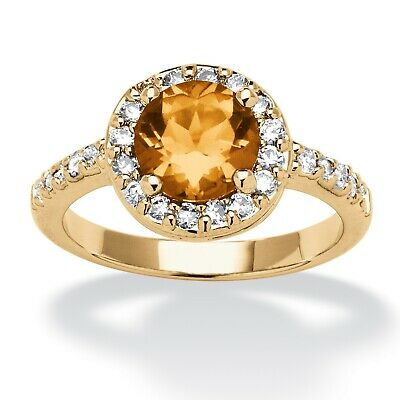 Birthstone and CZ Yellow Gold Tone Halo Ring-November-Simulated Citrine