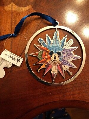 Walt Disney World Parks Icons Mickey Metal Spinner Christmas Ornament New