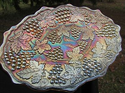 Northwood GRAPE & CABLE ANTIQUE CARNIVAL ART GLASS DRESSER TRAY~MARIGOLD
