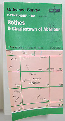 1988 old OS Ordnance Survey 1: 25000 Pathfinder map 180 Rothes & Charlestown..