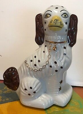 "Large Porcelain Dog Figurine WHIMSICAL 'SPRINGER SPANIEL' 9.5"" H UNMARKED"
