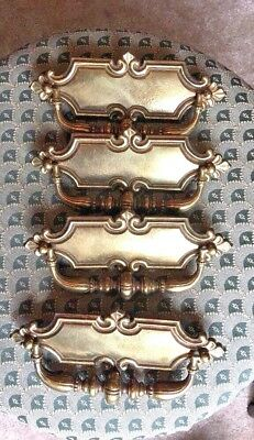 "Set of 4 Large Vintage Brass drawer Pull Drop Bail Pull  3 1/2 X 7 1/2"" Wide"