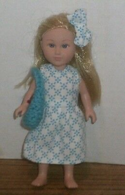 "6/6.5"" Doll Clothes-fit Mini American Girl My Life-Dress,Bag & Bow-White Blue"