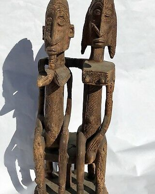 African Tribal Art Dogon Statue Seated Couple Private Collection P. 1992