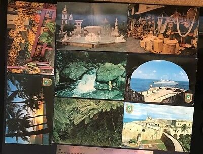 Puerto Rico ca1970s vintage large Postal Cards, lot of 8 Scenes