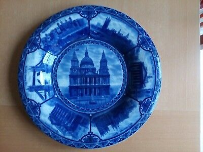 Views of London Blue and White Vintage Wall Plate S. Hancock in good condition