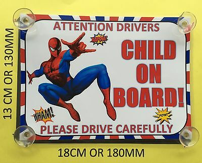 Superheroes Spiderman Child On Board Car Laminated Sign