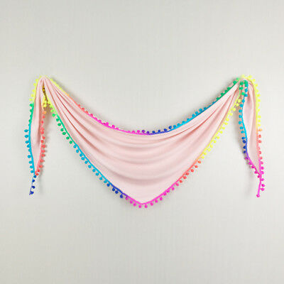 Fashion Triangle Scarf With Rainbow Colors Pom Soft Cotton Knitted Ivory Women