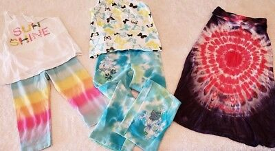 5Pc Mixed Lot Girls Tie Dye Lovers  Size 5-5T Pre-owned Summer Early Fall