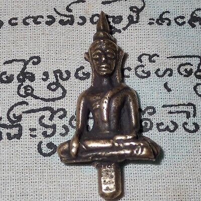 Buddha AYUTTHAY Statue Brass Amulet Thai Antique Rare Luck Powerful Life Protect