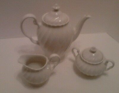 Johnson Brothers white Regency china coffee pot and lid, creamer, and sugar bowl