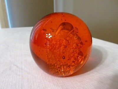 "Medium Orange Art Glass Crystal Ball Paper Weight Controlled Bubbles- 3"" - New"